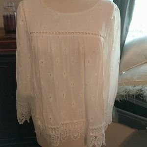 Stitch Fix Pale Sky Embroidered Bell Sleeve Top